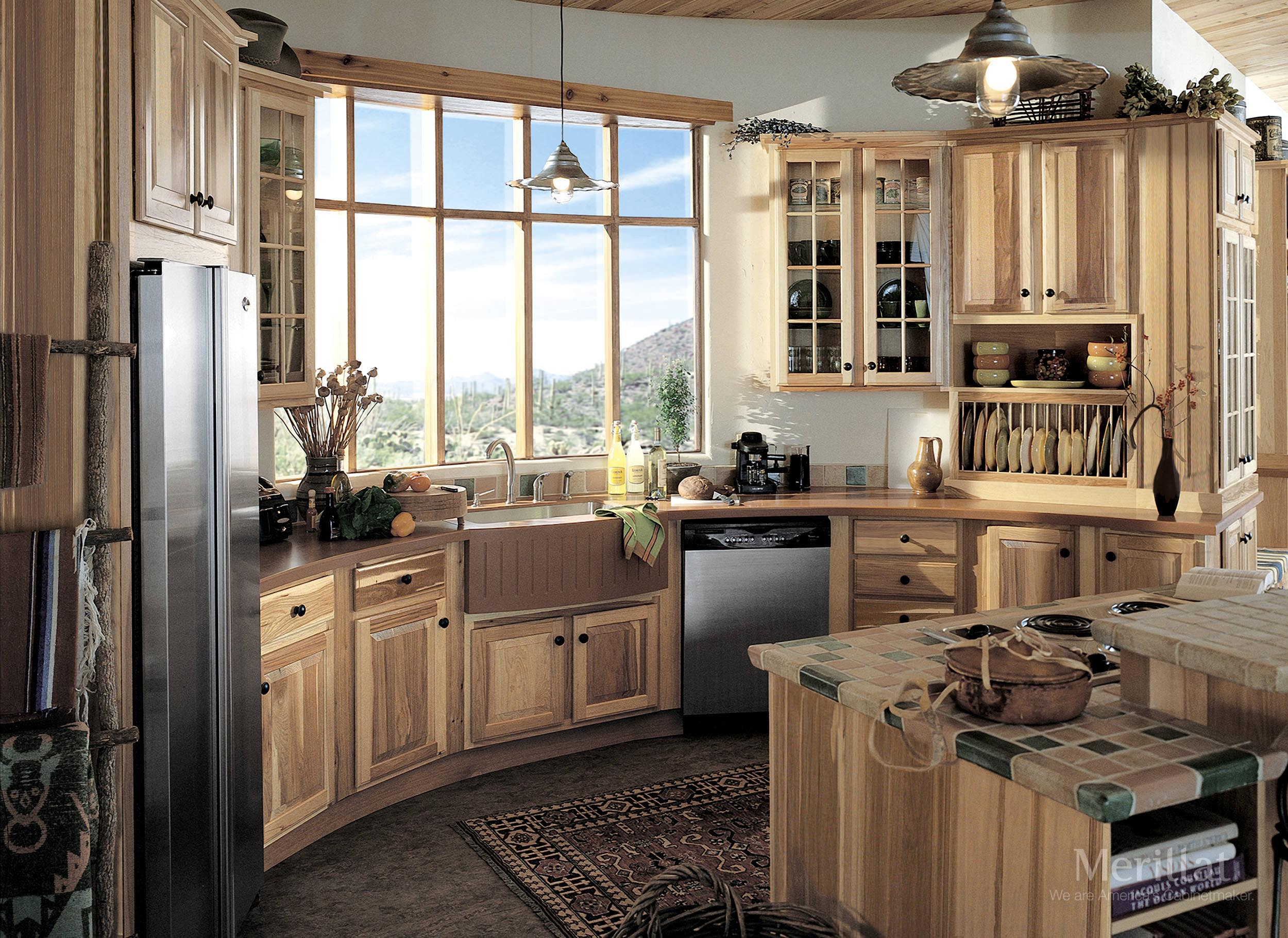merillat classic sutton cliffs in hickory natural - Eclectic Kitchen Cabinets